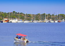 Motorboat voyage Aegean sea bay Stock Photography