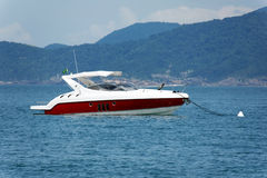 Motorboat on water. Transport theme: Motorboat on water stock photo