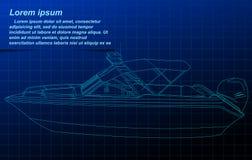 Motorboat wireframe. stock illustration