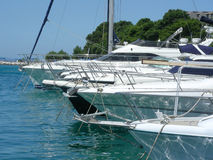 Motorboats. Little harbor with yachts and motorboats at Brela, Croatia royalty free stock images