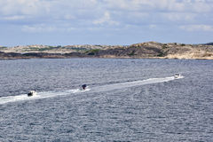 Motorboats in the archipelago Stock Photos