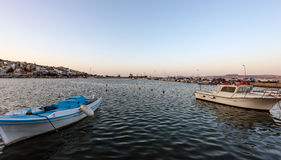 Motorboats at harbour of Sitia town on Crete island Royalty Free Stock Image