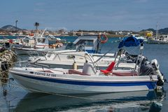 Motorboats in Laganas port. Speed and fast private motorboats moored in the Laganas port, Zante Island, Greece royalty free stock image