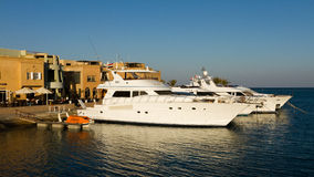 Motorboats in the marina of el gouna Stock Photo