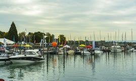 Motorboats na BodenSee jeziorze, Friedrichshafen, Niemcy Obraz Royalty Free