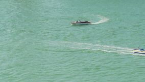 Motorboats sailing, active lifestyle, summer holidays, water transport, travel. Stock footage stock footage