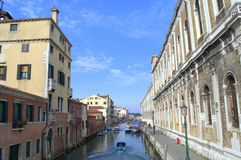 Motorboats in Venice canal Stock Photo