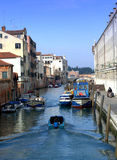 Motorboats in Venice canal Stock Photography