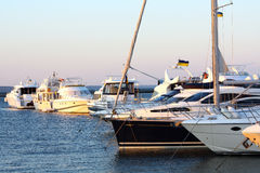 Motorboats and yachts in harbour Royalty Free Stock Image