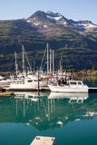 Motorboats Yachts  Sailboats Port Harbor Marina Whittier Alaska Royalty Free Stock Photography
