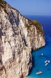 Motorboatsin bay at Zakynthos island Royalty Free Stock Images