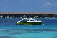 Motorboot bei den Maldives Stockfotografie