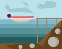 Motorboot in der Hafenvektorillustration lizenzfreie abbildung