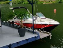 Motorboot drive at the Mosel river in Koblenz royalty free stock images