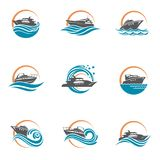 Motorboot en jachtpictogrammen vector illustratie