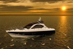Motorboot im Meer während des Sonnenuntergangs Wiedergabe 3d stock abbildung
