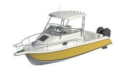 Motorboot lokalisiert auf weißer Illustration des Hintergrundes 3d stock abbildung