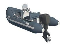 Motorboot lokalisiert auf weißer Illustration des Hintergrundes 3d lizenzfreie abbildung