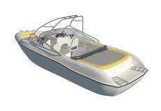 Motorboot lokalisiert auf weißer Illustration des Hintergrundes 3d vektor abbildung