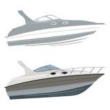 Motorboot met silhouet Stock Foto's