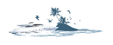 Motorboot op de achtergrond van van het eiland Stock Foto