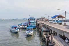 Motorbootparkeren bij de haven Royalty-vrije Stock Afbeelding