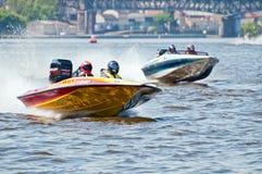 Motorboten in Actie Royalty-vrije Stock Fotografie