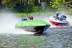 Motorboten in Actie Stock Afbeeldingen