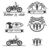 黑motorcicle标签和元素 向量例证