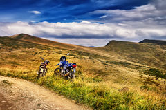 Motorcicle on beautiful mountain landscape background. Panorama motorcicle on beautiful mountain landscape background stock photos