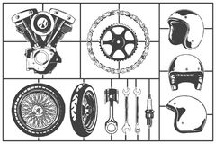 Motorcicle logo modeling elements set. Motor, wheel, chain, gearwheel, helmet, piston, wrench, spark plug. Vintage Motor Club Sign. And Label set on white Royalty Free Stock Photos