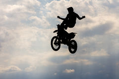 Motorcircle rider silhouette Stock Images