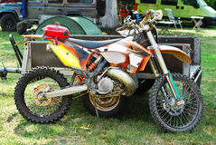 Motorcross bike. Dirty motocross bike profile view Royalty Free Stock Images