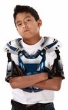 Motorcross Biker Stare-down. Young Mexican-American boy ready for a motorcross race Royalty Free Stock Image