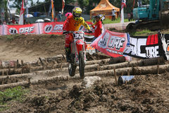 Motorcross. Motocross rider racing on a circuit in Sukoharjo, Central Java, Indonesia Stock Images