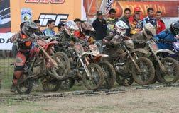 Motorcross. Motocross rider racing on a circuit in Sukoharjo, Central Java, Indonesia Royalty Free Stock Photos