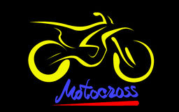 Motorcross motorcycle. Yellow silhouette of Motorcross motorcycle, line scetch, dirt sand stone off-road star, vector illustration Royalty Free Stock Images