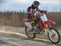 Motorcross race. RUSSIA, NADYM - MAY 29: Sergey Illarionov participates in extreme motorcross racing May 29, 2008 in Nadym, Russia Stock Photo