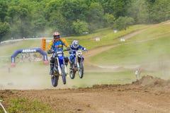 Motorcross racer jumping Royalty Free Stock Photo