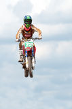 Motorcross. Worcester,UK-APRIL 05 2009 :A competitor taking part in a Motocross race.Motocross is an extreme sport with venues in many countries around the world Royalty Free Stock Photo