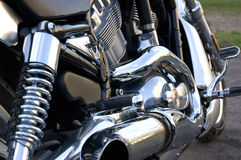 Motorcycle. Black  shiny white engine motorcycle crank, chrome steel Royalty Free Stock Images