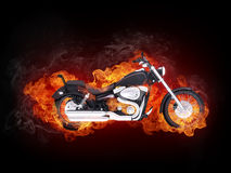 Motorcycle. In Fire Isolated on Black Background.. Computer Graphics Stock Photography