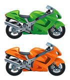 Motorcycle. Green and orange motorcycle on a white background royalty free illustration