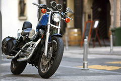 Motorcycle. A generic motorcycle against an urban background submittion Stock Photography