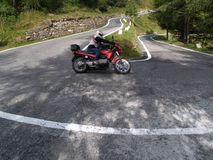Motorcycle. Motorcyclist on a winding mountain road Stock Photography
