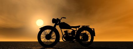 Motorcycle. Motorbike and sky orange and yellow Royalty Free Stock Photo