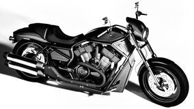 Motorcycle. Detailed and stylized motorcycle illustration. Rendered in black and white - to get an appealing and classic look. High resolution, high quality Royalty Free Stock Photo