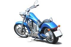 Motorcycle. Blue powerful motorcycle on white background Stock Photo