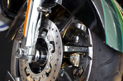 Motorcycle. Low angle view of motocycle wheel,close-up on  disc break Stock Image
