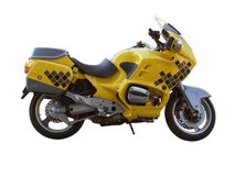 Motorcycle. Yellow motorcycle isolated on white background Royalty Free Stock Photography